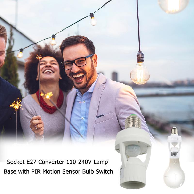 Горячая продажа патрон E27 долговечный конвертер 110 240 В автоматическое обнаружение человеческого тела лампа база с PIR датчик движения светильник лампа Конвертеры держателей ламп      АлиЭкспресс