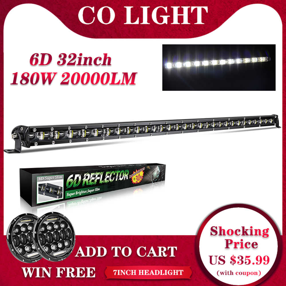 "Co Slim Lampu LED Bar Offroad 32 ""Baris Tunggal 180W Banjir Spot Beam Kerja Lampu Bar untuk Jeep LED Lada Niva Ford Mobil Styling 12V 24V"