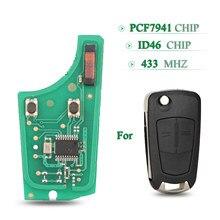 Bilchave 2 botões 433mhz placa de circuito chave do carro remoto id46 pcf7941 chip para opel vauxhall astra h 2004-2009 corsa d 2007-2012
