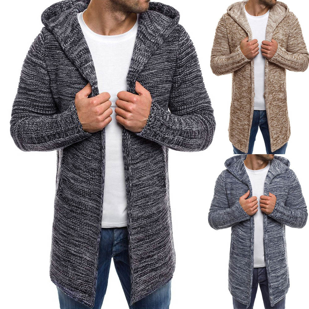 Men's Hooded Solid Knit Trench Coat Jacket Cardigan Long Sleeve Outwear Blouse SweaterCoats Male Casual Warm Slim Fit clothing