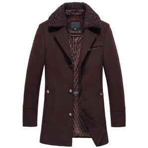 Image 2 - 高品質新冬のウールコートスリムフィットジャケットメンズカジュアル暖かい上着ジャケットとコート男性エンドウコートサイズ M 4XL