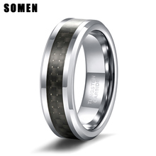 6mm New Black Carbon Fiber Mens Ring Tungsten Carbide Engagement Wedding Band Jewelry