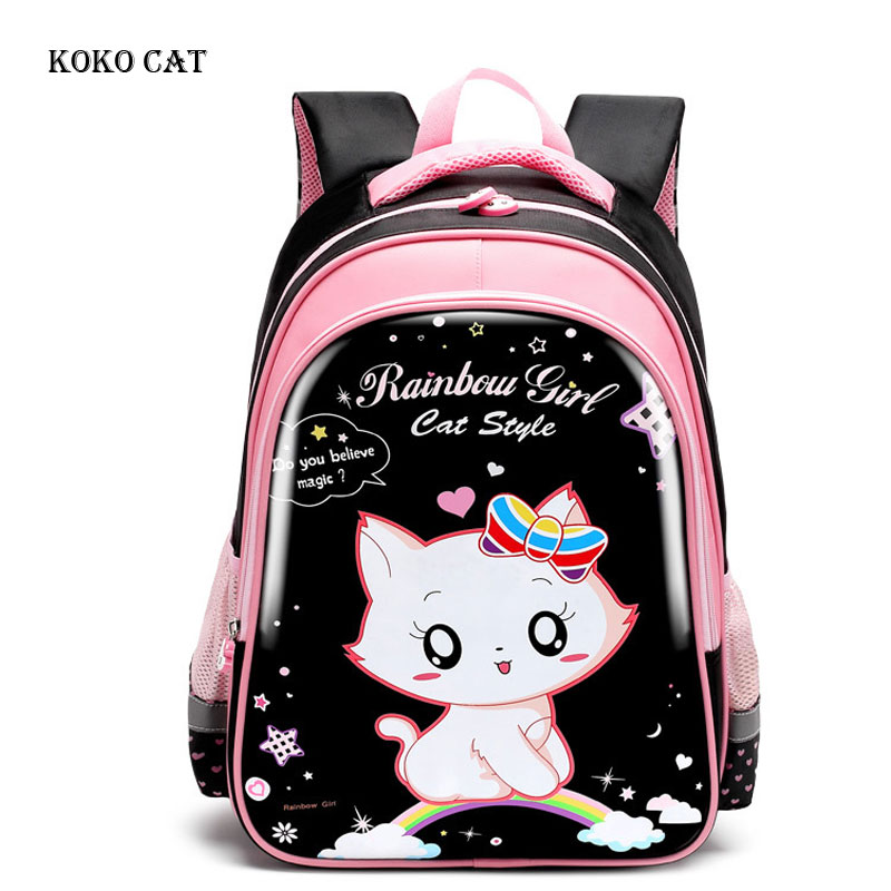 Black Cat Pringting Princess Backpack Waterproof Girls School Bags Large Capacity Children Daypack Mochila Infantil Escolares