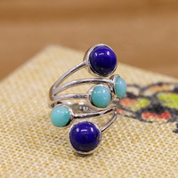 925silver products, new atmosphere, beautiful women, mosaic natural lapis lazuli, Tianhe stone combination, S925 rings