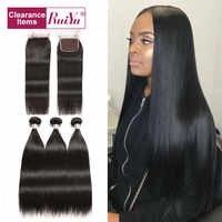 Straight Hair Bundles With Closure Human Hair Bundles With Closure Non-remy Brazilian Hair Weave Bundles With Closure RUIYU Hair