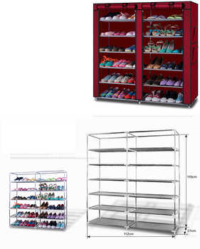 6-Row 2-Line 12 Lattices Non-woven Fabric Shoe Rack Coffee Shoe Rack Dustproof Shoes Rack Non-Woven Fabric Shoe Stands Organizer - DISCOUNT ITEM  20 OFF Furniture