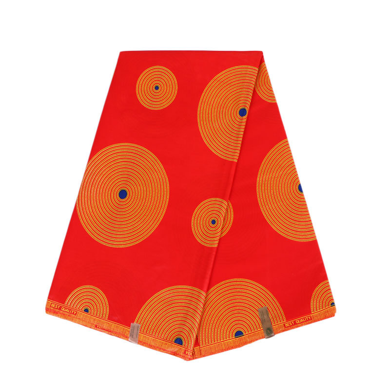 2019 New Design Circular Pattern Print Red Fabric African Fabric African Real Dutch Wax 6Yard