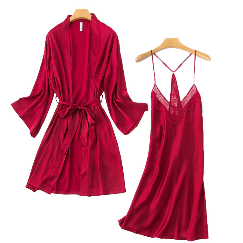 2020 Spring New Ladies Sexy Lace Nightgown Cardigan+Dress 2PCS  Women Sleepwear Soft Silk Satin Femme Robes Comfort Homewear