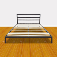 Twin/Full/Queen Size Wood & Iron Metal Bed Frame & Bed Platform Stable for High Capacity Bedroom Furniture Black US Stock