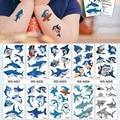 10 видов мультяшных татуировок акулы, милый макияж для детей, временные наклейки на тело, синяя рыба, одноразовый временный татуаж