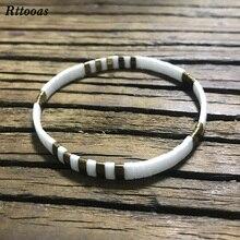 Rttooas New Simple MIYUKI Tila Seed Bead Bracelet Handmade Flat Stretch Square Bracelet for Women Men Fashion Summer Jewelry stylish square fake turquoise bead bracelet for women