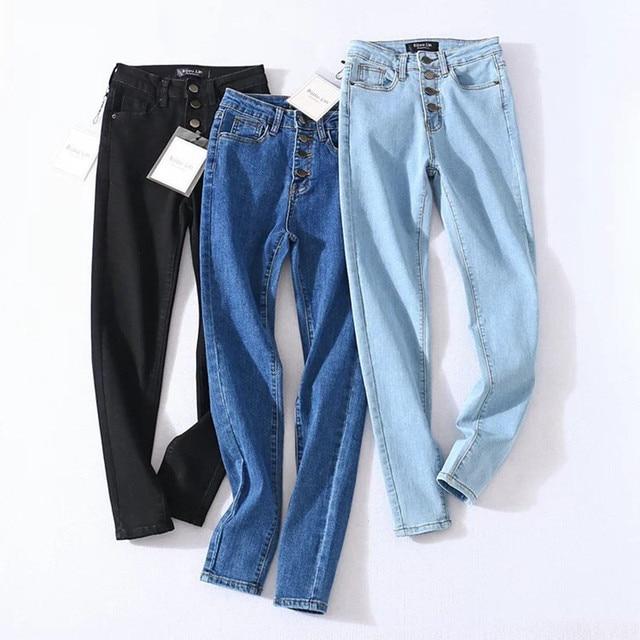 Four Buttons High Waist Pencil Jeans  2
