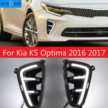 2PCS Car Accessories Daytime Running Light For Kia K5 Optima 2016 2017 Waterproof DRL Styling LED Front Bumper Signal Fog Lamp фото