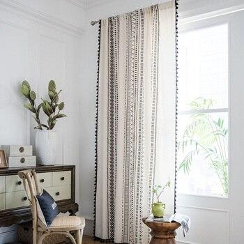 Cortinas de algodón y lino con estampado, borla negra americana, estilo bohemio, cortinas de cocina, ventana con acabado campestre, semitransmisión