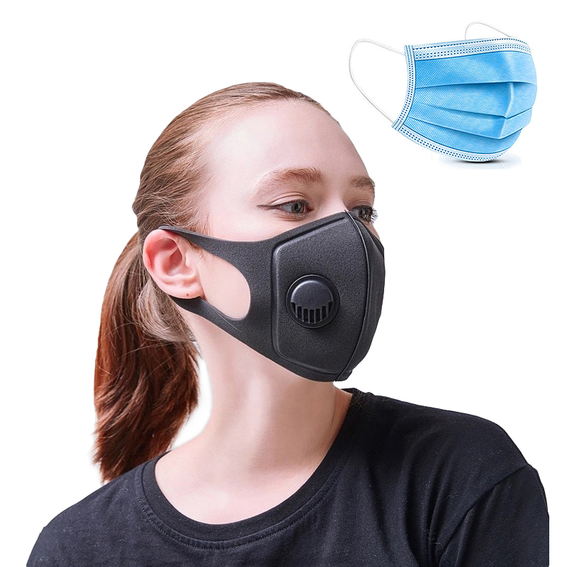 20pcs Anti Pollution Black Face Mask With Valve PM2.5 Sponge Masks Breathable Mascherina Washable
