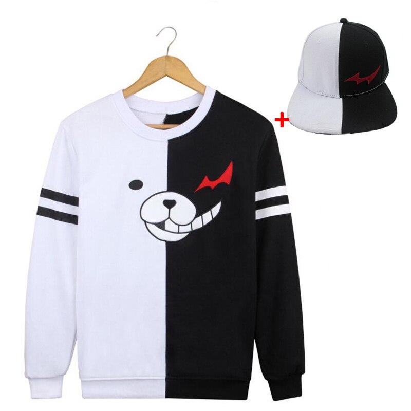 Anime Danganronpa Monokuma Long Sleeve T-shirt Cosplay Costume Dangan Ronpa Sweatshirt Spring Autumn Fashion Casual T-shirt Hat