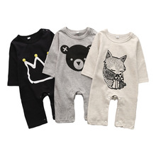 Baby Siamese Tights Newborn Cartoon Printed Clothes Cotton Body Long Sleeve 2019 Autumn Boy Girl Set