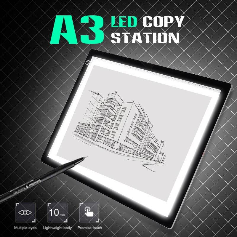 A3 Portable tapis de lumière LED tapis de dessin copie conseil dessin graphique tablette Table Pad panneau copie conseil pas de contrôle de la luminosité