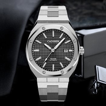 цена на Mens Watches CADISEN Top Luxury Brand Automatic Mechanical Watch Men Full Steel Business Fashion Sport Watches NH35 Watch Clocks