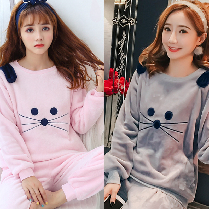 [Temperature Attitude Warm] Autumn & Winter Pajamas Women's Flannel 922 # Beard Cat Two-color Long Sleeve Tracksuit-Outer Wear