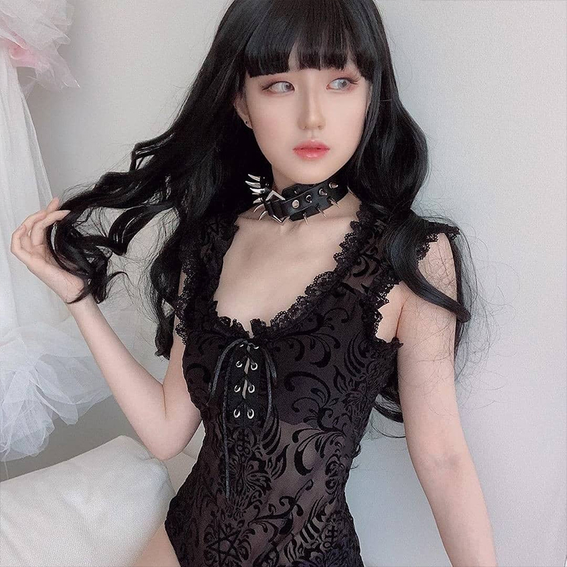 InsGoth Sexy Lace Bodycon Bodysuit Women Gothic Streetwear Mesh Hollow Out Patchwork Sleeveless Bodysuit Female Black Body Party