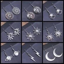 Totem vintage brinco sol & lua balançar brincos geométrico feminino balançar brincos estrela lua feminino coreano jóias