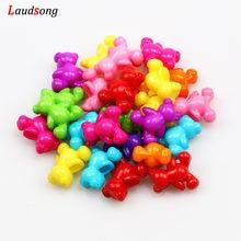 50 pièces de perles ours de couleurs mélangées 12x14mm, en acrylique, pour la fabrication de bijoux, Bracelet et collier, breloques, accessoires de bricolage