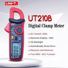 UNI-T UT210B Mini Clamp Meter; True RMS 2000 Count Data hold digital multimeter;AC current tester with LCD backlight/NCV MAX/MIN contact type thermometer uni t ut320a ut320d thermocouple single dual channel k j temperature tester data hold max min avg