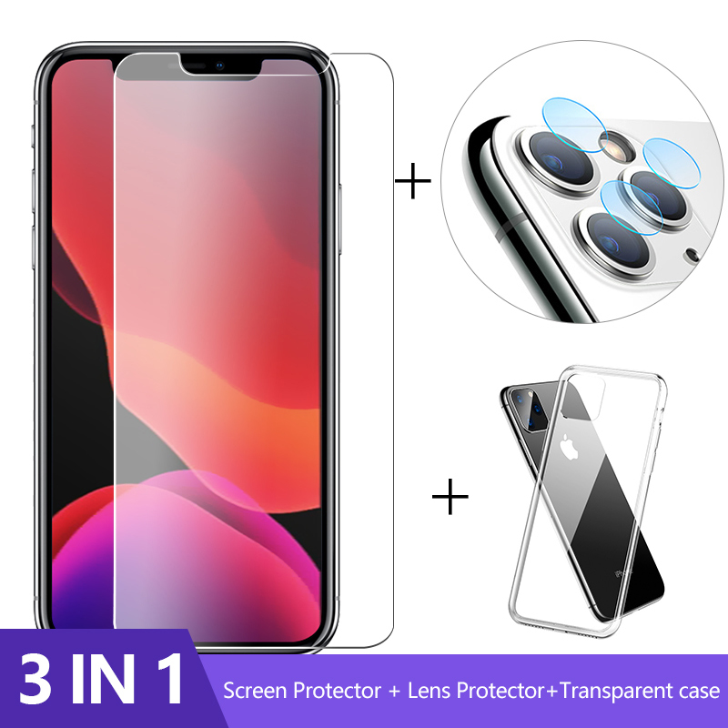 3-in-1 Case + Camera Glass For iphone 11 pro max Screen Protector Lens Glass On iphone SE2 protective Glass iphone 2020