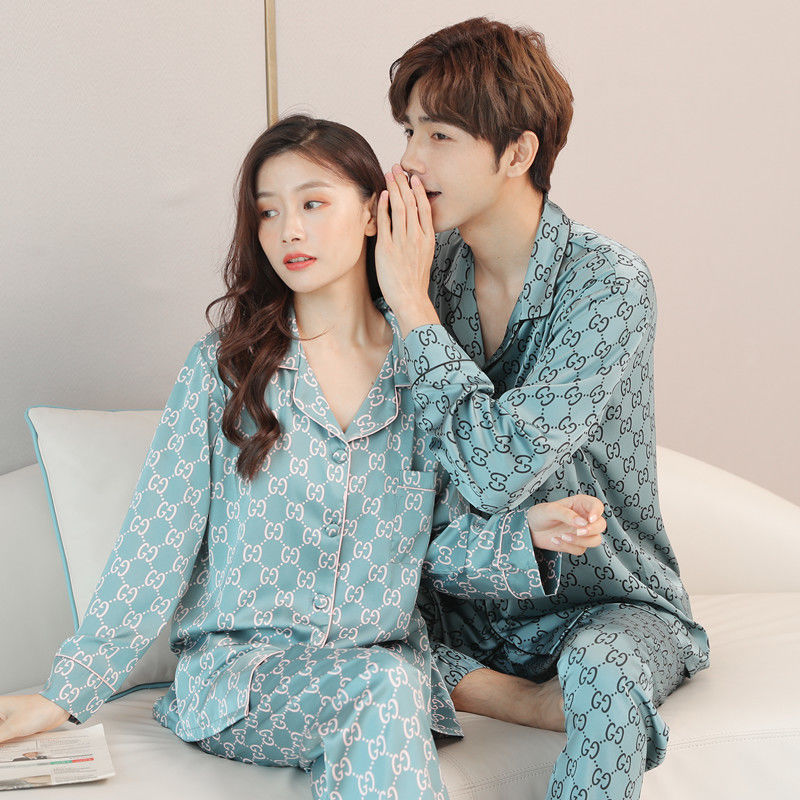 Spring And Autumn New Lovers Pajamas Fall Thin Men's Long Sleeve Suit Silk Household Clothes Women Ice Two-piece Set