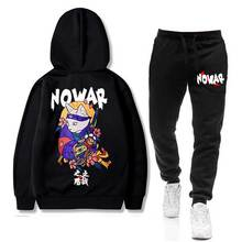 Japanese NOWAR CAT Men's Sets hoodie+Pants Harajuku wholesal