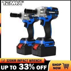 TENWA llave eléctrica sin escobillas Llave de impacto llave de enchufe 21V 4000mAh Li batería taladro manual instalación herramientas eléctricas