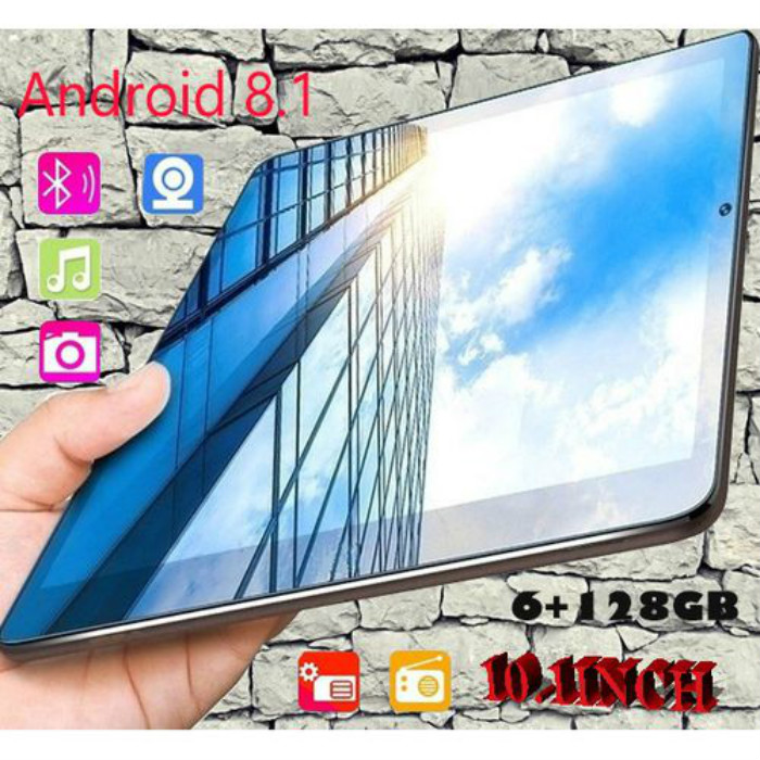 Newest Original 10.1 Inches Screen Dual Sim 4G Phone Tablet PC Mic WIFI Android 8.1 Octa Core 6G+128GB Tablet  Dual Camera GPS