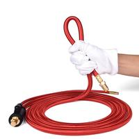 WP26 Quick Connect TIG Welding Torch Gas-Electric Integrated Red Hose Cable Wires 4M 35-50 Euro Connector 13.12FT