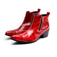 New Designer Wine Red Genuine Leather Mens Boots Fashion Print Zipper Pointed Toe Party Cowboy Shoes Chelsea Boots Men