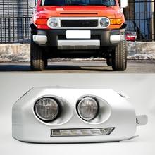 Luz de circulación Diurna LED DRL para coche, 1 par, moldura para luz antiniebla, para Toyota Fj Cruiser 2007 2008 2009 2010 2011 2012 2013 2014