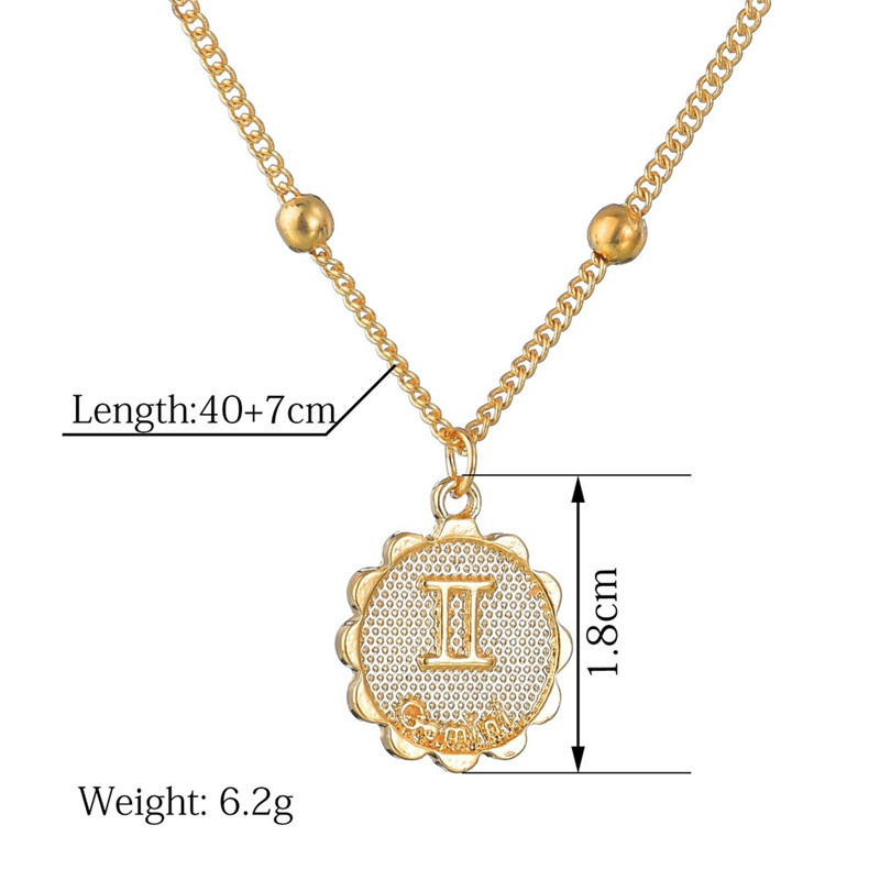 Female Elegant Star Zodiac Sign 12 Constellation Necklaces Pendants Charm Gold Chain Choker Necklaces for Women Jewelry Dropship 5