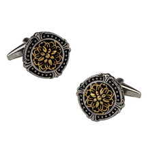 Black Cufflinks Jewelry Gifts Classical-Pattern Retro Men's Round French Plating Two-Color