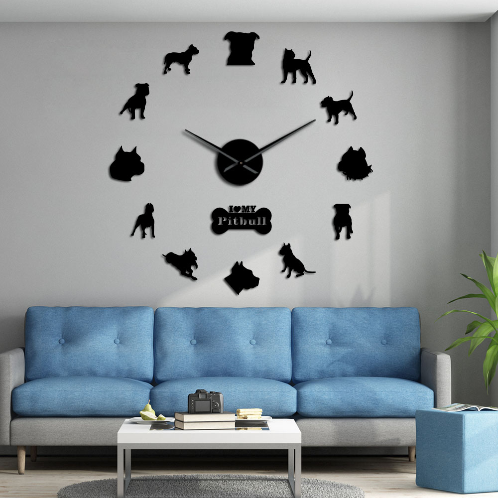 Pit Bull Large Wall Clock Dog Breed Pitties Home Deocr Self Adhesive DIY 3D Wall Clock Mirror Surface Pit Bull Dog Lover Gifts