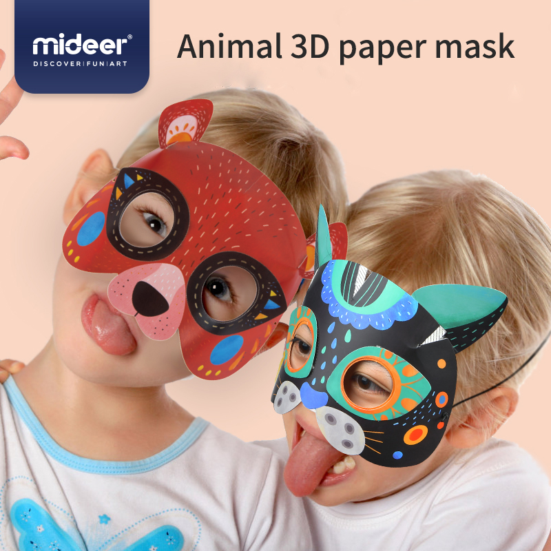 MiDeer Baby Funny Toy 3D Cartoon Animals Mask DIY 5Y+ Origami Forest Pattern Enlightenment Boy& Girl Gift