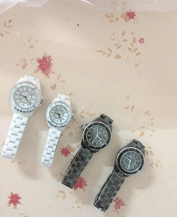 Женские мужские известные бренды керамические часы черно белые кварцевые наручные часы для пары женские мужские часы из нержавеющей стали 33 38 мм