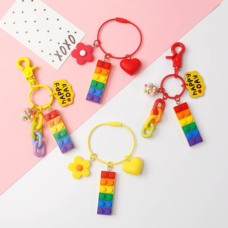 Dayoff Cute Building Blocks Keychain Keyring For Women Girl Jewelry Korea Red Heart Flower Car Bandbag Key Holder Keyring K92