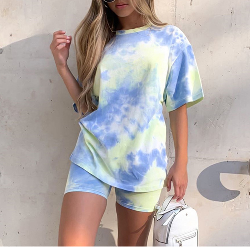 Women Print Tee Shirt Tops Shorts Ladies Short Sleeve Loose T Shirt Pants Sweatpants Cycling Sport Fitness Casual Clothes New