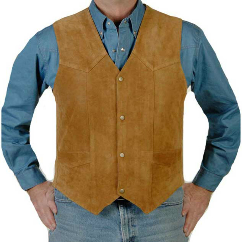 Airtailors Western Cowboy Vest Groom Wear Vest For Rustic Wedding Cow Suede Leather Plus Size