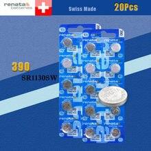 Batterie de montre en oxyde d'argent 20 X renata 390 SR1130SW 1130 1.55V 100% marque d'origine renata 390 renata 1130