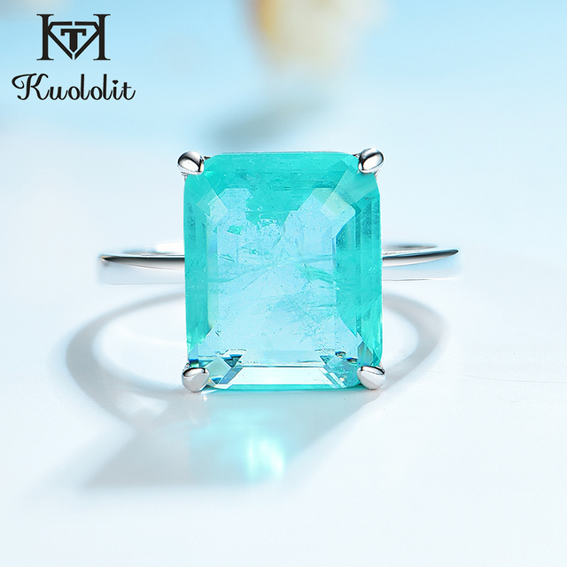 Kuololit Paraiba Gemstone Rings for Women Real 925 Sterling Silver Emerald Cutting Tourmaline Handmade Engagement Bride Jewelry 1