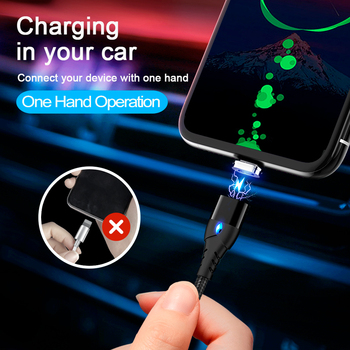 GETIHU 2m Magnetic Cable Fast 3A For iPhone XS Samsung Charger Quick Charge 3.0 Micro USB Type C Magnet Phone Charging Data Cord 1
