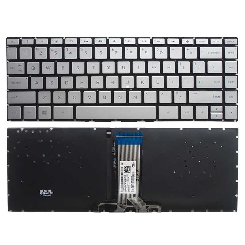 を hp パビリオン X360 14-BA 14T-BA 14M-BA 14-BS ノートパソコンのキーボード米国逆光銀