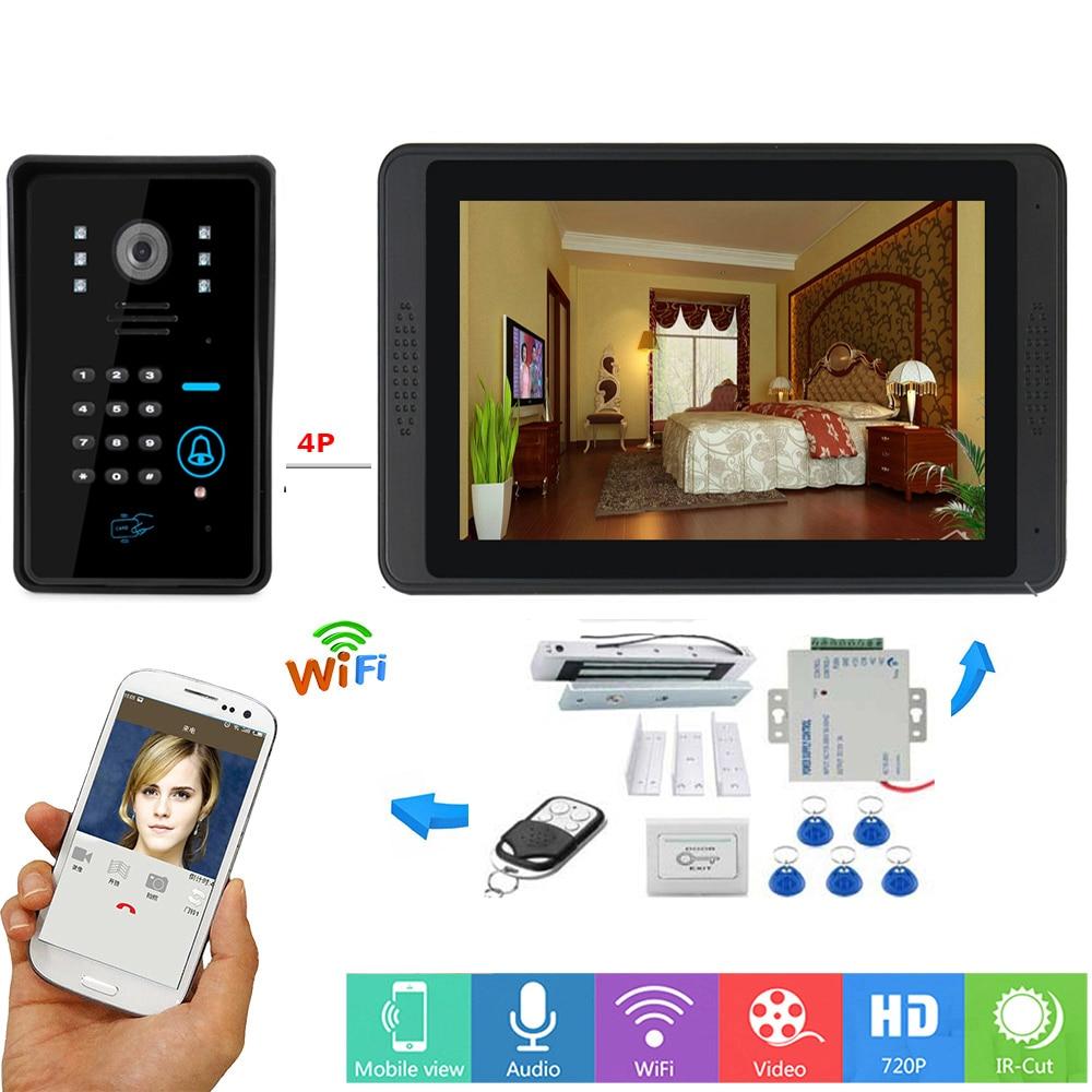 Video Intercom 7 Inch Monitor Wifi Wireless Video Door Phone Doorbell RFID Password Camera Intercom System+Door Opening Lock