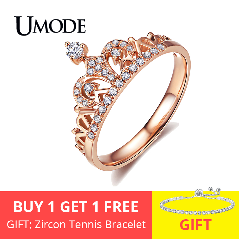 UMODE Brand Wholesale 18K Rose Gold Plated Round Cut AAA Cubic Zirconia Diamond Fashion Crown Rings For Women Jewelry AUR0217